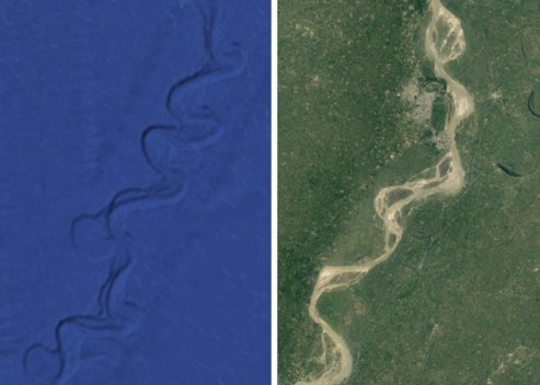 Submerged and aerial Ganges meanders and oxbows