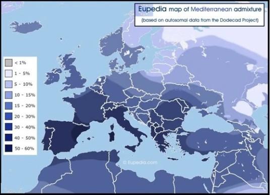 European Admixture DNA heat map