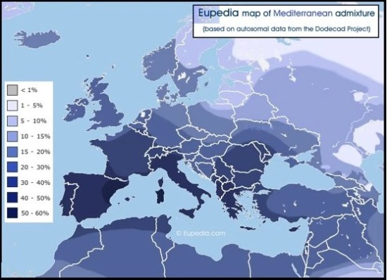 European Admixture DNA heat map
